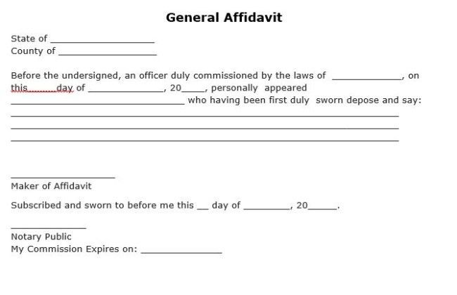 Free Download Simple Template of General Affidavit form with Blank ...