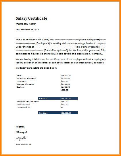 7+ salary certificate | memo templates