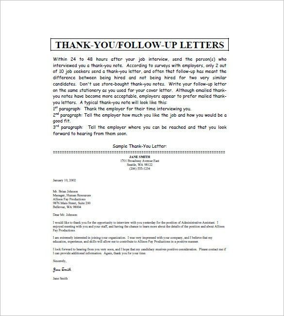 Thank You Note After Interview – 8+ Free Word, Excel, PDF Format ...
