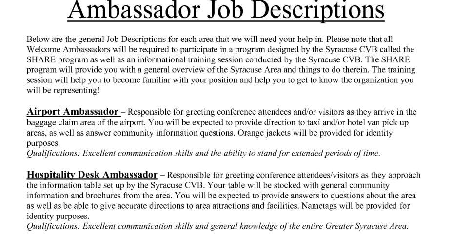 Brand Ambassador Resume | The Best Letter Sample