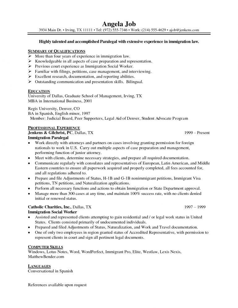 Immigration Paralegal Resume Resume - Schoodie.com