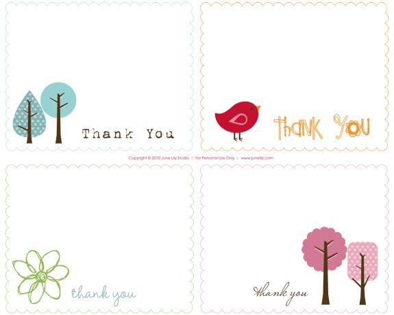 Free Printable Thank You Notes | June Lily | Design, Illustration ...