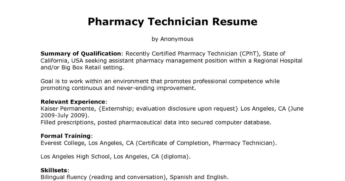 Nice Looking Resume For Pharmacy Technician 16 Sample Resume ...