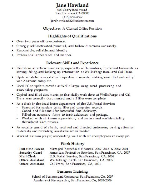 Peaceful Ideas Work Resume Examples 9 Resume Sample Clerical ...