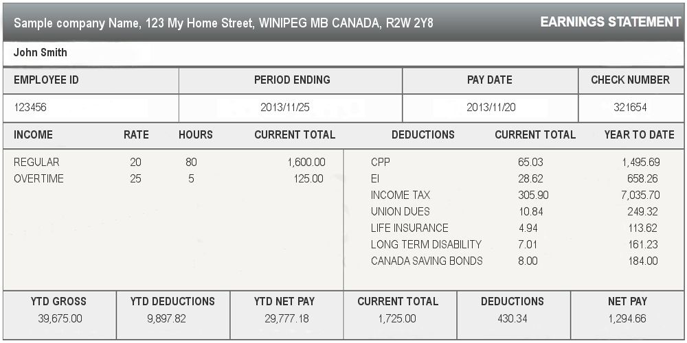Sample Pay Stub - Canada Online Pay Stub Generator