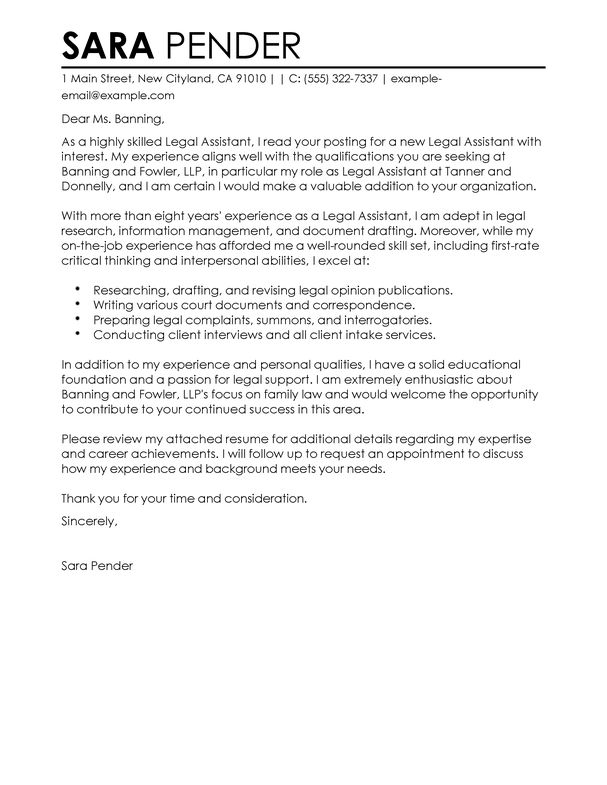 legal assistant cover letter with legal assistant cover letter ...