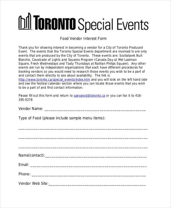Sample Vendor Event Form - 10+ Free Documents in Word, PDF