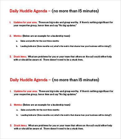 6+ Daily Agenda Templates - 6+ Free Word, PDF Documents Download ...