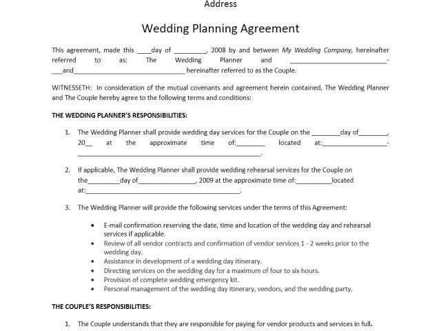 fill online. sample wedding planner contract. wedding planner ...