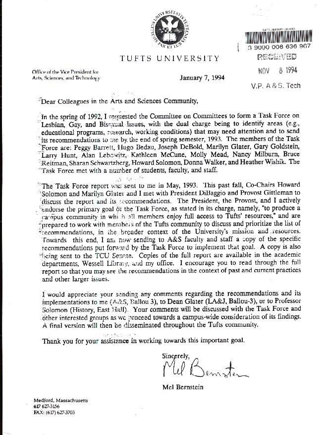 Cover Letter, Vice President Mel Bernstein.JPG | Tufts Student ...