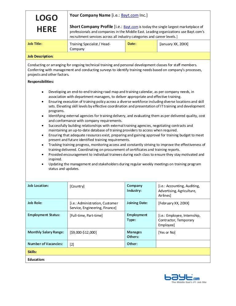 Training Specialist Job Description Template by Bayt.com