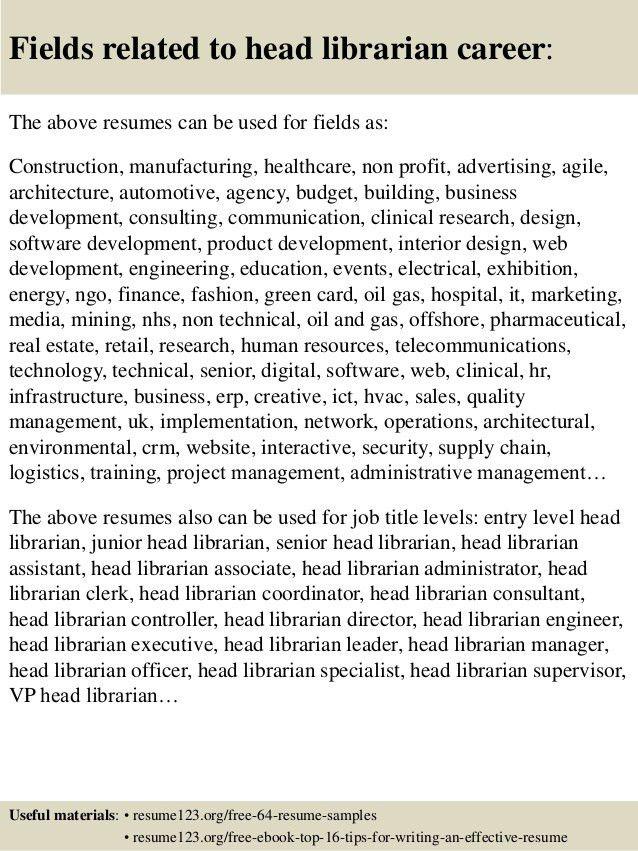 Top 8 head librarian resume samples