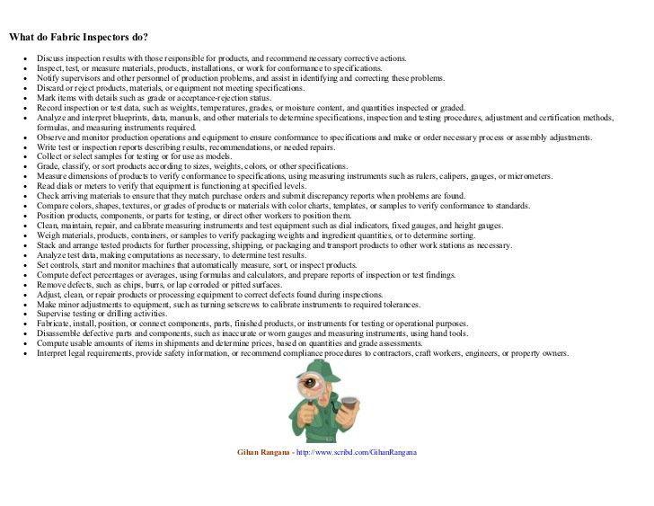 Fabric inspector job description gihan rangana