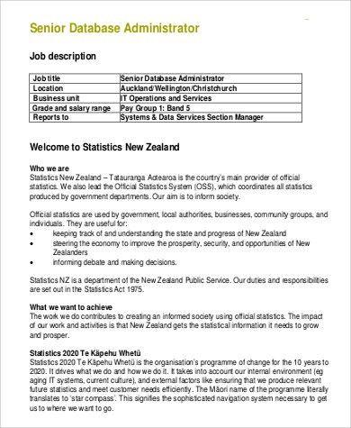 Sample Database Administrator Job Description - 9+ Examples in PDF ...