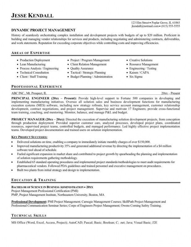 Best Resume For Project Manager | Samples Of Resumes