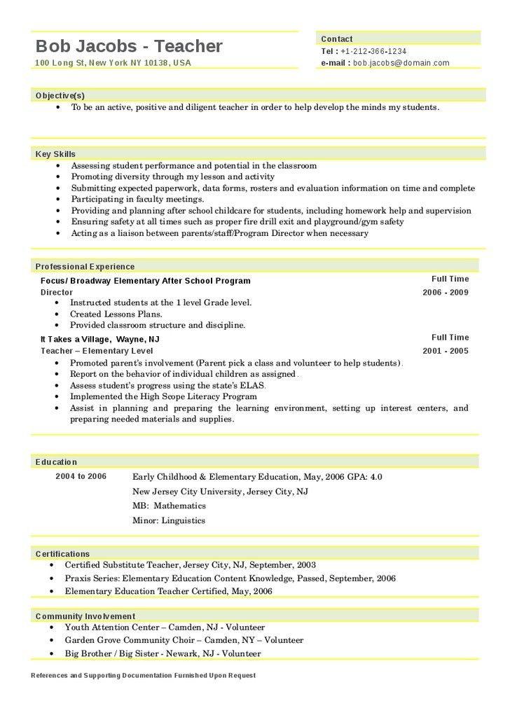 Teacher Resume Samples 2016 Experience Resumes Teacher Resume ...