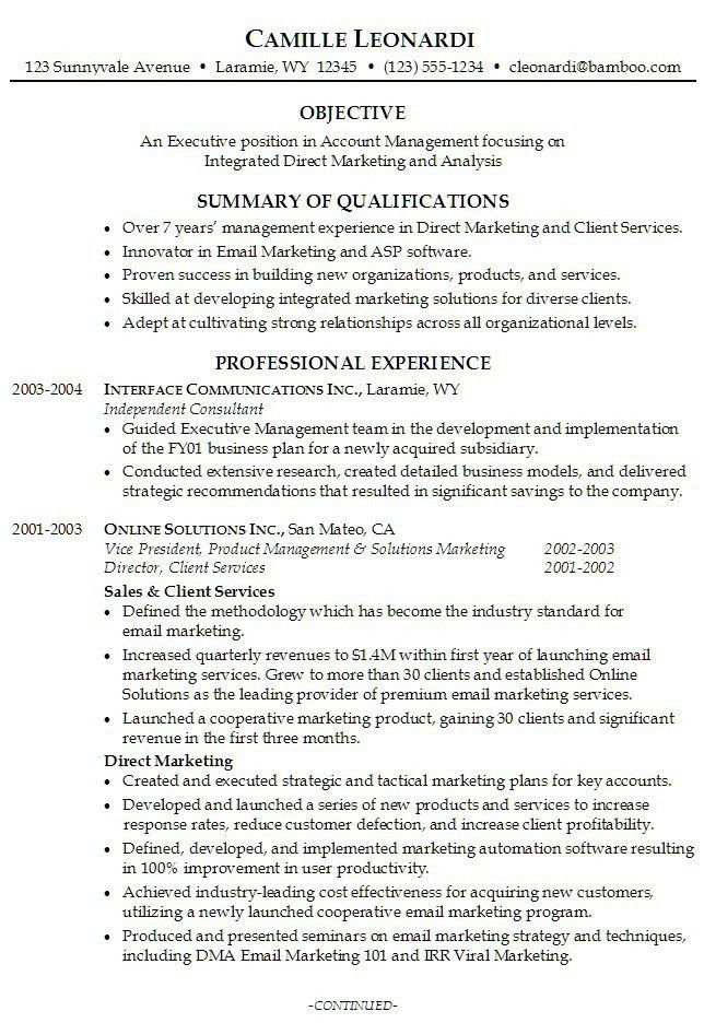 section 6 the resume career summary. sample summary objectives for ...