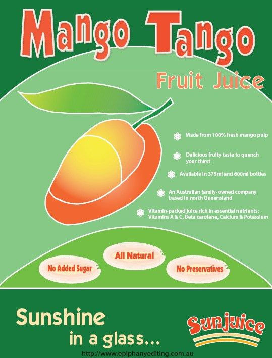 Mango Tango Fruit Juice flyer to promote 100% mango juice drink to ...