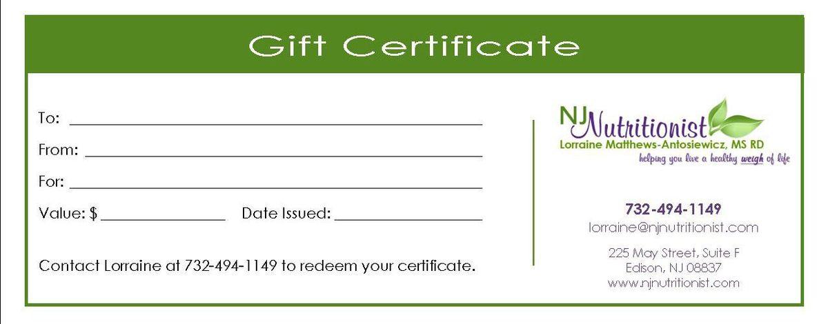 Gift Certificate | Lorraine Matthews-Antosiewicz, MS, RD