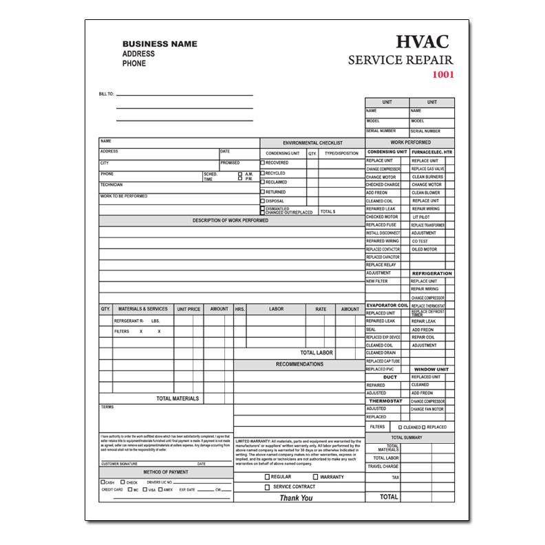 HVAC Contractor Invoice Form - Custom Form Printing | DesignsnPrint