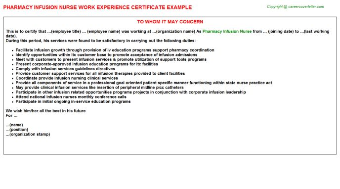 Pharmacy Infusion Nurse Work Experience Certificate