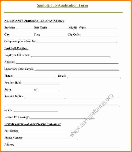 Sample Employment Application Form. Printable Employment ...