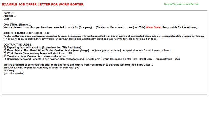 Worm Sorter Offer Letter