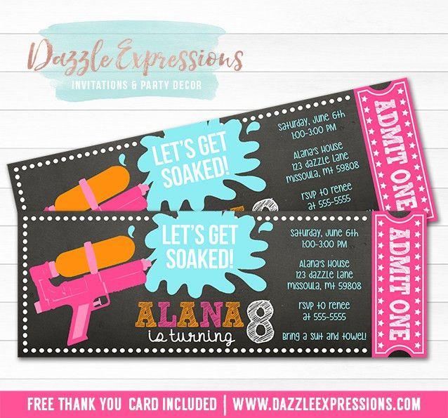 Printable Girl Water Gun Chalkboard Ticket Birthday Invitation ...