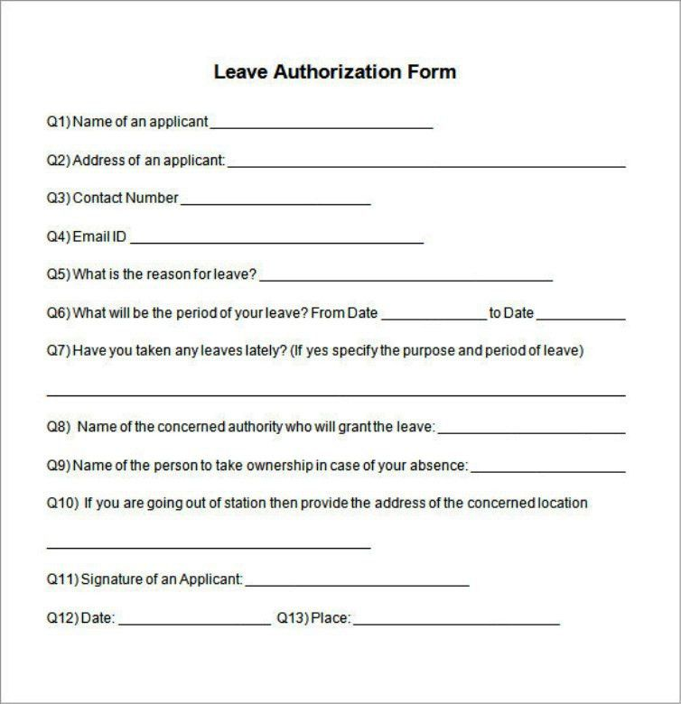 Example Of Leave Request Authorization Form Template | TemplateZet