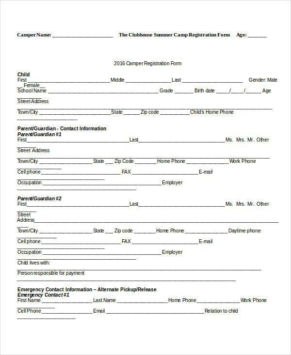 Camp Registration Form Template | Template Design