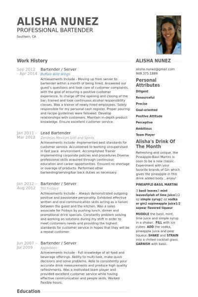 Bartender Resume Format] Unforgettable Bartender Resume Examples ...