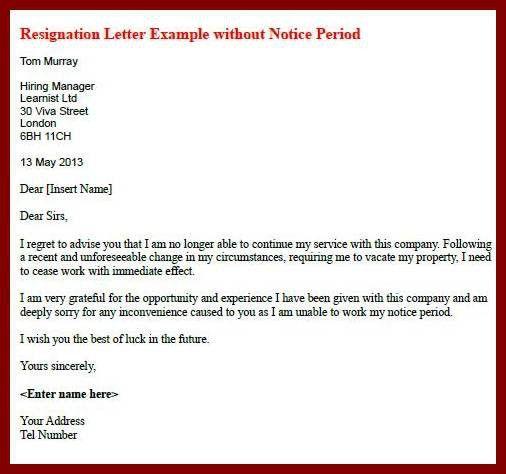 18 Resignation Letter Without One Month Notice | sendletters.info