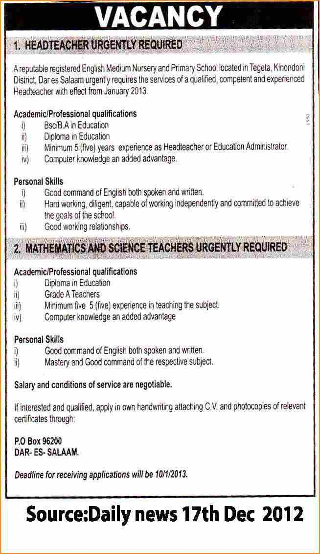 Application letter post english teacher