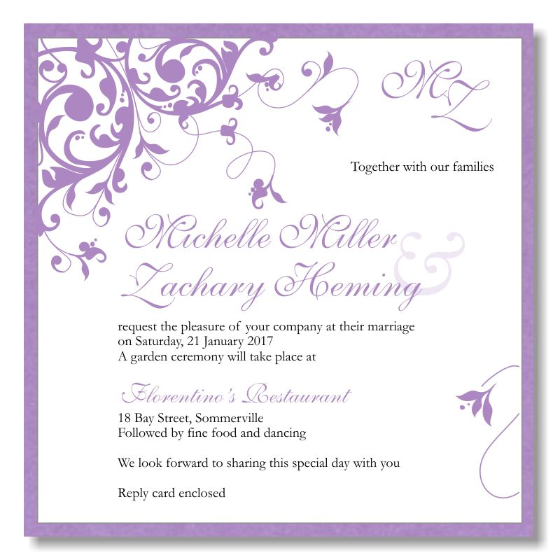 Sample Wedding Invitation Templates | Invitation Ideas