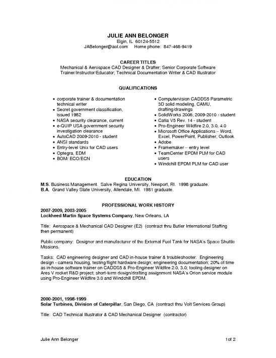 cad technician resume samplemechanical drafter resume examples - Drafter Resume