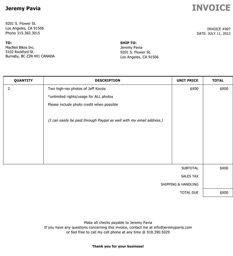 Photography Invoice Template Word | invoice example