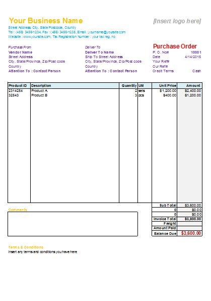Purchase Order Template - Free Printables