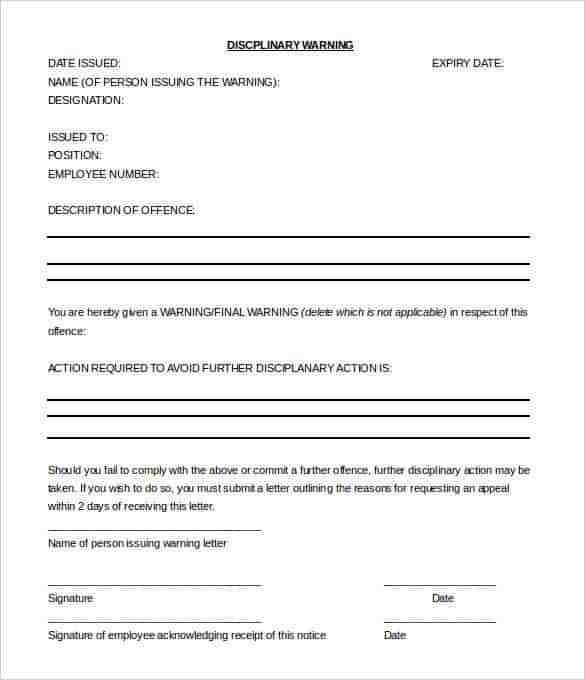 29+ HR Warning Letters - Free Sample, Example Format | Free ...