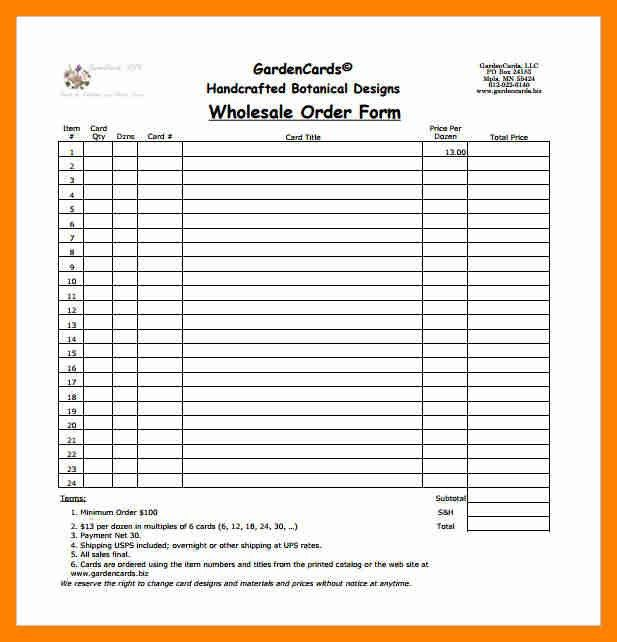 9+ sample order form excel | resumes great