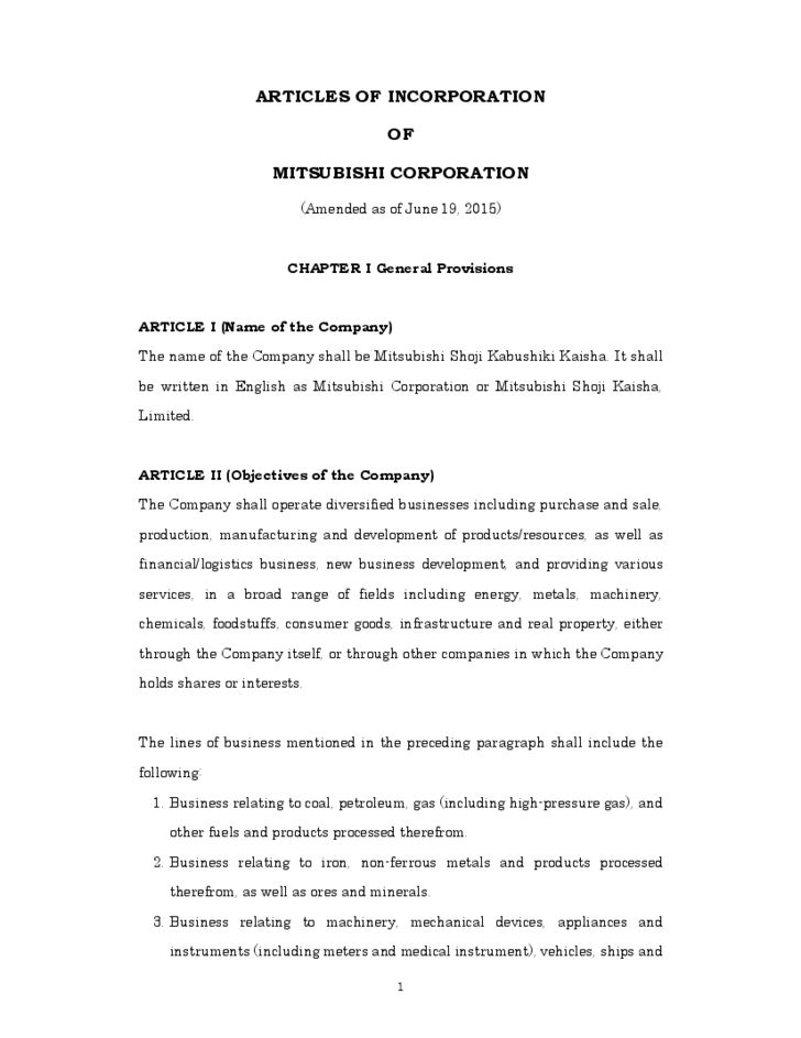 Sample Articles of Incorporation Template Free Download