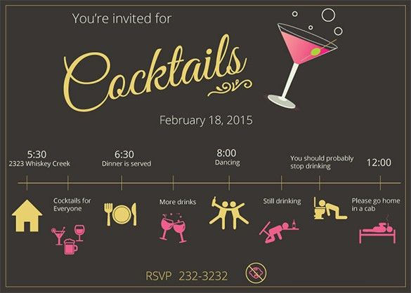 15+ Stunning Cocktail Party Invitation Templates & Designs! | Free ...