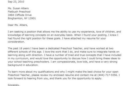 cover letter for teachers
