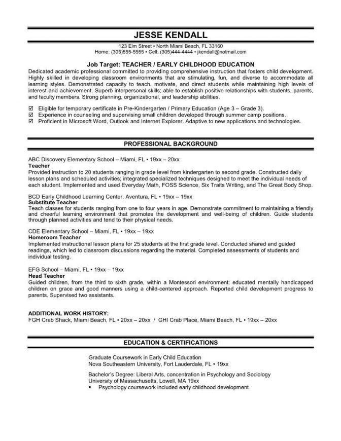 Educational Resume Template. First Year Elementary Teacher Resume ...