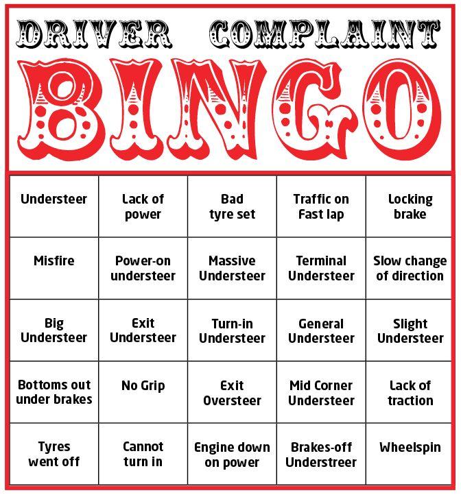 Special promotion! Driver Complaint Bingo - Racecar Engineering