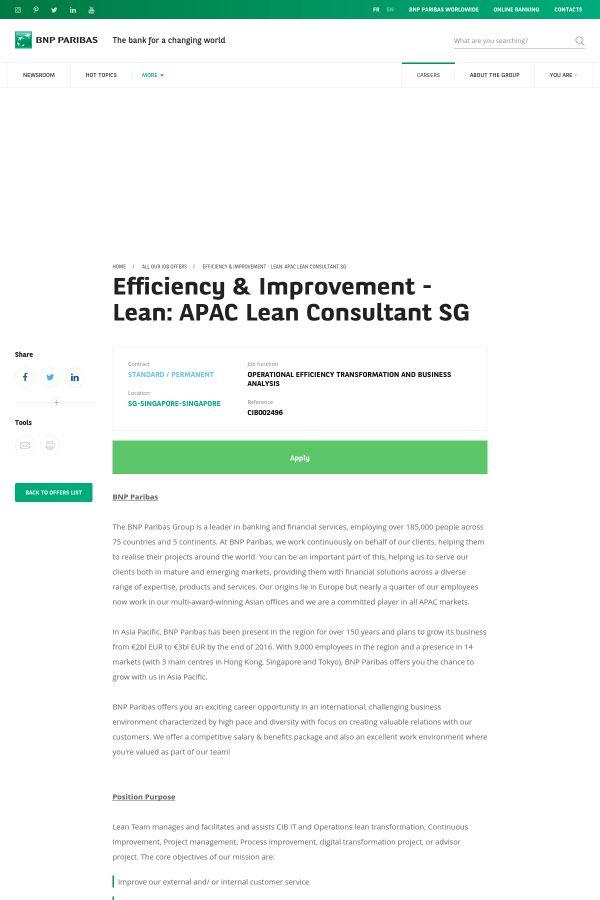 Efficiency & Improvement - LEAN: APAC LEAN Consultant SG job at ...