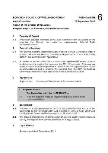 External Audit Report. Differences Other Differences: Area ...
