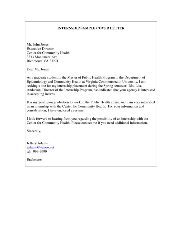 Excellent College Spring Internship Cover Letter Sample for Public ...
