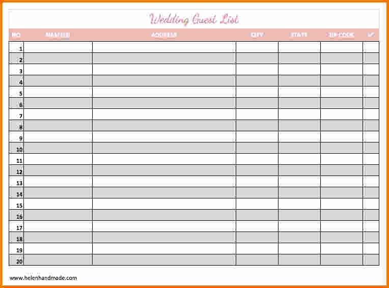 4+ printable wedding guest list | Expense Report