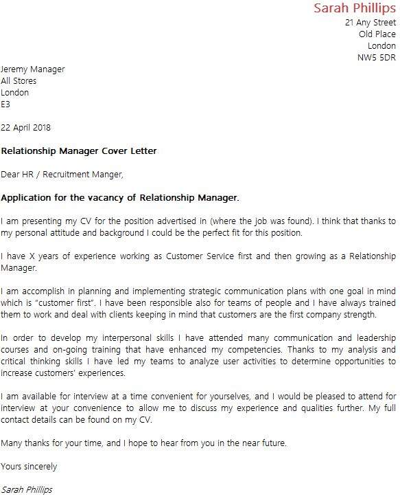 Cover letter for customer service representative in bank