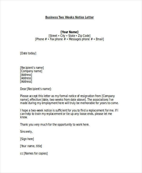 19+ Two Weeks Notice Letter Examples, Samples